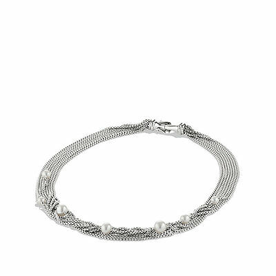 David Yurman Eight-Row Chain Necklace with Freshwater Pearl