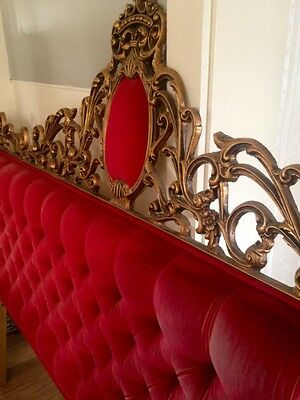 Hollywood Regency Gilt Rococo Red Velvet Tufted Cast Iron Head Board