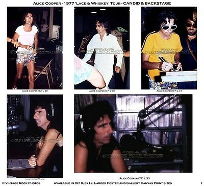 Alice Cooper Photos 4x6 in Set of 9 Prints 1977 Concert Tour Candid Backstage L3