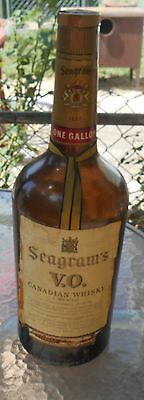 "Vintage Seagram's VO Liquor Bottle Large 1 Gallon Empty 18"" Tall Whiskey Rare"