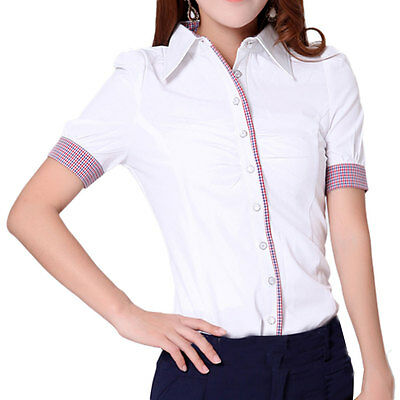 Womens Short Sleeve Shirt Blouse Tops Ruched Checked Cuff Slim Fit White L