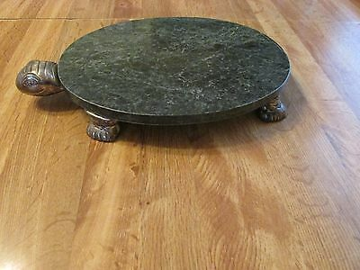 UNIQUE TURTLE HOTPLATE HEAVY MARBLE WITH METAL HEAD AND LEGS