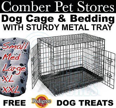 "DOG PET CAGE BED + METAL TRAY + Quilted BEDDING 24"" 30"" 36"" 42"" 48"" S M L XL XXL"