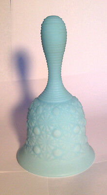 WOW! Lovely Collectible Vintage Fenton Daisy & Button Light Blue Milk Glass Bell