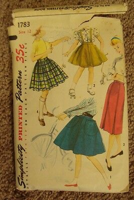 Vintage 50s Simplicity 1783 Sewing Pattern Girls Flared Pleated Skirt size 12