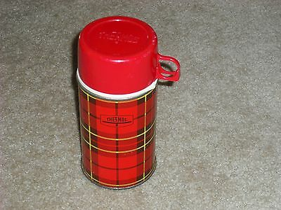 """VINTAGE 1960""""s RED PLAID METAL LUNCH BOX THERMOS. VERY RARE."""