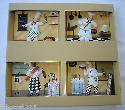 Set 4 KITCHEN WALL PLAQUE PICTURES 3-D Fat Chef Italian Bistro Cafe Tuscan Decor