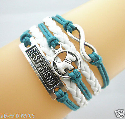 Infinity/Dog/Best Friend Charms Leather Braided Bracelet Teal/White SSA5