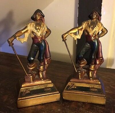 Vintage 1930s Armor Bronze Cast Hand Painted Pirate Bookends Art Deco W/ Labels