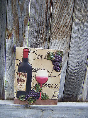 New 3D RED WINE WALL PLAQUE W/ GRAPES Tuscany Italian French Kitchen Home Decor