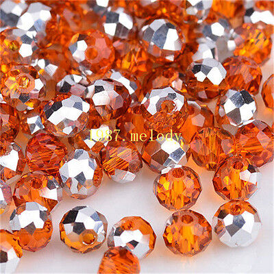 Jewelry Faceted 100pcs orange+silver #5040 3x4mm Roundelle Crystal Beads