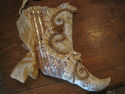 Katherines Collections gold sequined beaded ruffled Christmas Stocking