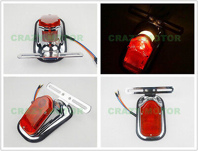 Motorcycle Rear Fender ABS Taillight Brake Tail Light License Plate Lamp Bulb