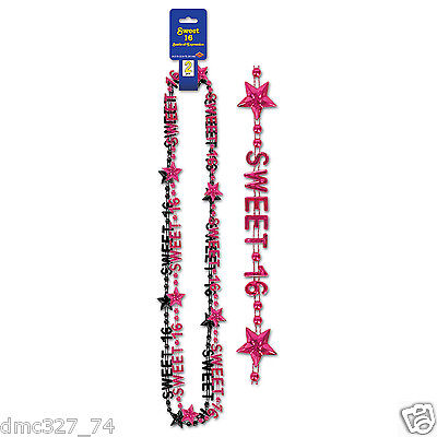 Teen Party Novelty Accessory SWEET 16 SIXTEEN Birthday Beads Necklace