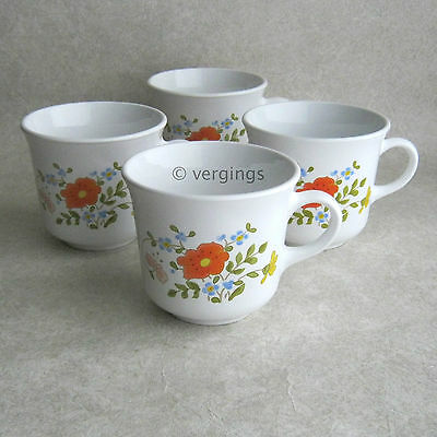 Corelle Wildflower Set of 4 Cups Corning Ware USA Expressions Centura