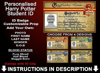 Harry Potter Student ID Badge Hogwarts Gryffindor Personalised Cosplay Prop