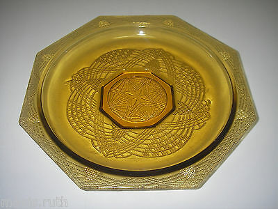 L E Smith Glass ROMANESQUE Amber Shallow Roound Bowl Octagonal Beaded Arch...