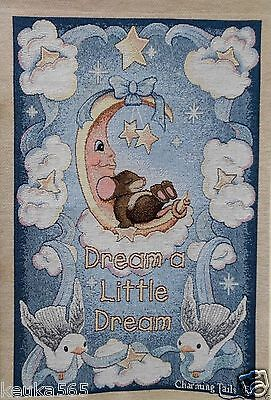 CHARMING TAILS Moon & Stars FITZ & FLOYD WALL HANGING Tapestry DREAM A LITTLE
