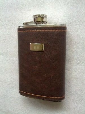 Leather Wrapped Flask Stainless Steel engraved RH personalized R H