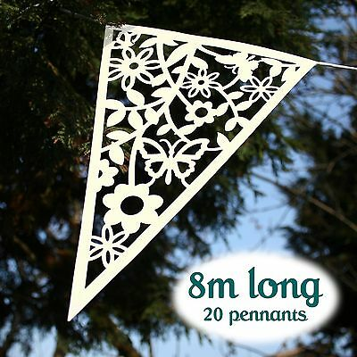 IVORY LACE PAPER WEDDING BUNTING Vintage Butterfly Floral Bunting Banner Garland
