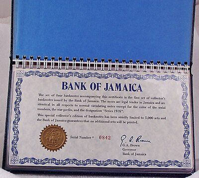 Bank of Jamaica Series 1976 Banknote 4-UNC Star Note Collection - low #  842