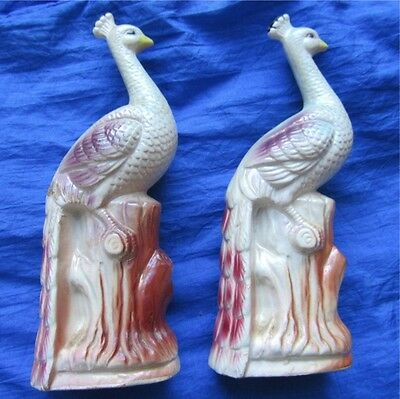 906-Japanese Lusterware [??] Peacock Statuettes Hand painted. Art Pottery