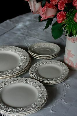 Wedgwood Queensware Cream on Cream 12 5 piece place settings