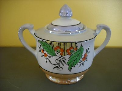 VINTAGE HAND PAINTED IRIDESCENT SUGAR BOWL  / MADE IN JAPAN / STAMPED