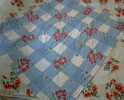 Pair of Vintage 50's Cotton TABLECLOTHS: Blue Check & Morning Glories
