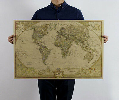 Hot Useful The World Map Poster 71X46.5cm Giant Wall Chart of the Atlas Decor
