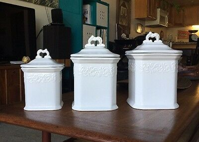 JCPenney Kitchen Canisters White French Provential