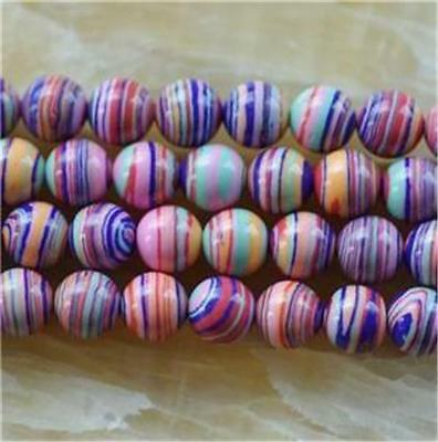 8mm Red stripe  Round Turkey Turquoise Gems Loose Beads 15'' H