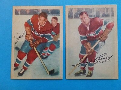 LOT OF 2 DIFFERENT 1953-54 PARKHURST HOCKEY MONTREAL CANADIENS CARDS