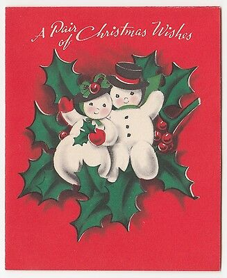 Vintage Greeting Card Christmas UNUSED Norcross Mr & Mrs Snowman 1950s a435