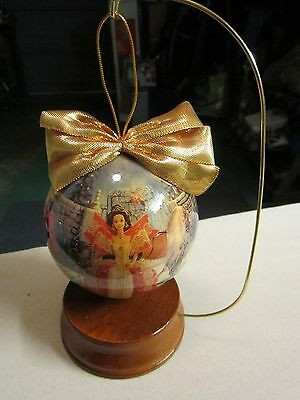 1997 HOLIDAY BARBIE CHRISTMAS 4'' DECOUPAGE ORNAMENT WOODEN STAND MATTEL FREE SH