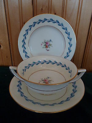 MINTONS BONE CHINA TRIO SOUP BOWL SAUCER SIDE PLATE S383 PINK STAMP FLORAL BLUE
