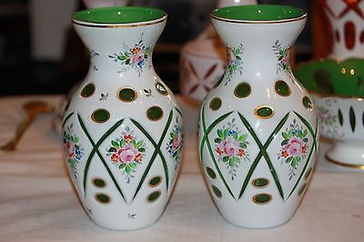 Vintage PAIR BOHEMIAN CZECH MOSER Cased Glass White Overlay Cut to Green VASES
