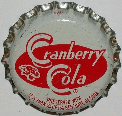 Vintage soda pop bottle cap CRANBERRY COLA cork lined unused new old stock