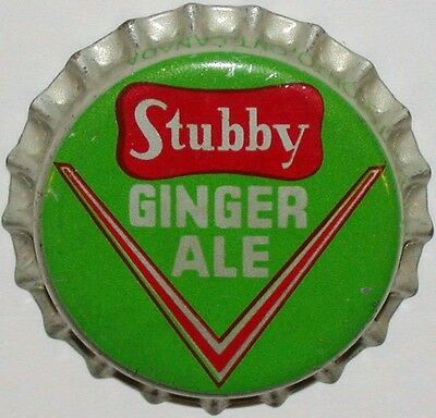 Vintage soda pop bottle cap STUBBY GINGER ALE cork lined unused new old stock