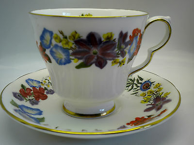 Royal Doulton July Flower of the Month Tea Cups & Saucer Bone China 1983
