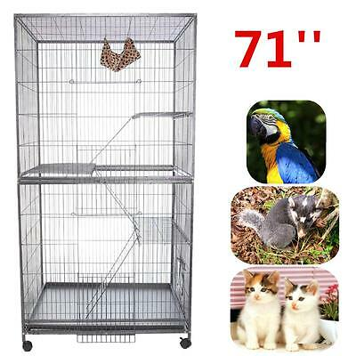 "Bird Parrot Cage 71"" w/ Wheels Pet Supplies Cockatiel Conure Finch 3-level"