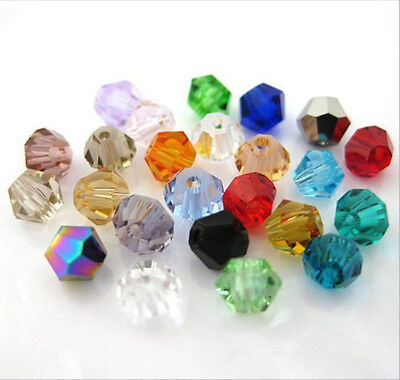 100pcs mix exquisite Glass Crystal 4mm #5301 Bicone Beads loose beads;