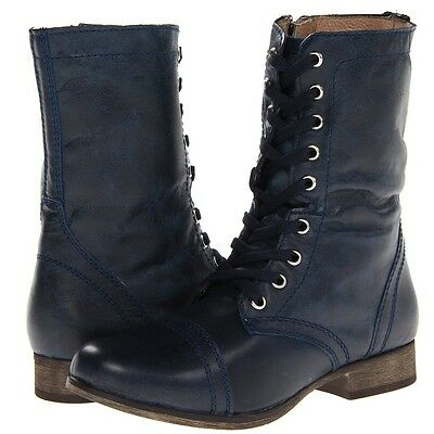 Steve Madden Troopa Leather Lace Up Combat Boots~ Glass Denim ~NIB~size 8