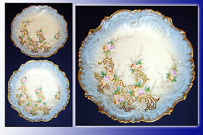 ANTIQUE VICTORIAN LIMOGES PAIR OF CABINET PLATES 1850 - 1860