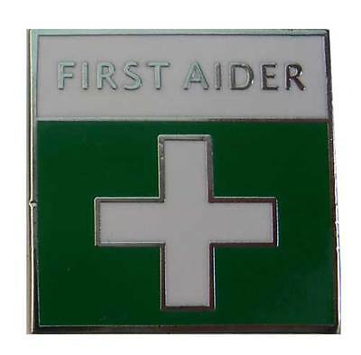 Metal Enameled First Aider Badge with Locking Pin, First Aid, Events, Emergency