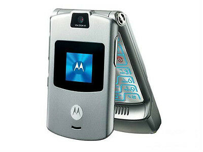 NEW MOTOROLA RAZR V3 AT&T T-MOBILE UNLOCKED GSM CELL PHONE SILVER