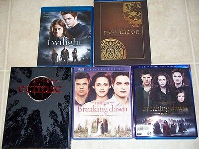 The Twilight Saga Blu Ray Collection Set Lot Eclipse New Moon Breaking Dawn