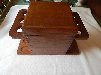 Decatur Oak Humidor With 6 Pipe Rack And Tobacco Chamber