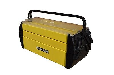 248 Us Pro Tools Plastic Steel Portable Cantilever Tool Storage Chest Box Yellow