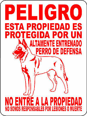 Belgian Malinois Guard Dog Aluminum Sign Warning Spanish Vinyl Decal 2276Bmsp